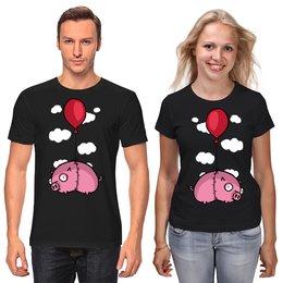 """Футболки парные """"Прикольная свинья"""" - прикол, новый год, свинья, 2019, год свиньи"""