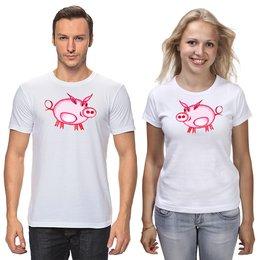 """Футболки парные """"Розовый поросёнок """" - арт, счастье, малыш, свин, розовый поросенок"""