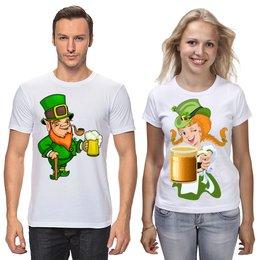 """Футболки парные """"День Св. Патрика"""" - девушка, еда, патрик, пиво, день святого патрика"""