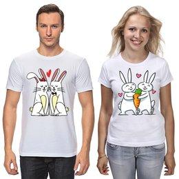 """Футболки парные """"Влюблённые  кролики"""" - сердца, день святого валентина, заяц, пара, кролики"""