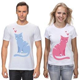 """Футболки парные """"Влюблённые котики"""" - любовь, животные, день святого валентина, котик"""