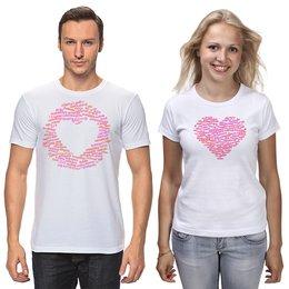 """Футболки парные """"Слово Любовь на десятках языков, парная"""" - сердце, любовь, 14 февраля, надписи, слова"""