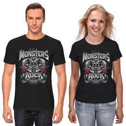 """Футболки парные """"МУЗЫКА. MONSTERS ROCK"""" - черепа, красота, эмблема, розы, стиль надпись логотип яркость"""