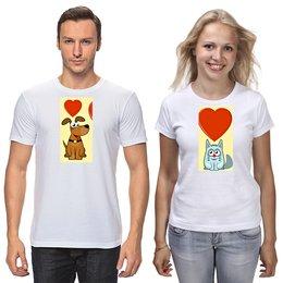 """Футболки парные """"милый пес-собачка.кошечка.сердце."""" - сердце, любовь, кот, животные, собака"""