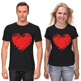 """Футболки парные """"На 14 февраля"""" - любовь, сердца, 14 февраля, ко дню влюбленных, valentine's day"""