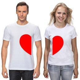 """Футболки парные """"Одно Сердце На Двоих"""" - любовь, 14 февраля, семья, парные, пары"""