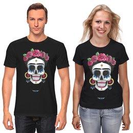 """Футболки парные """"Фрида"""" - череп, цветы, яркий, розы, фрида"""