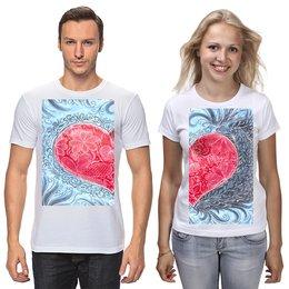 """Футболки парные """"Для влюбленных. Горячее сердце"""" - сердце, любовь, пара, влюбленные, кружева"""