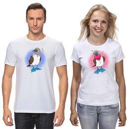 """Футболки парные """"Шутливая влюбленная пара птиц на день Валентина"""" - сердце, любовь, птица, день влюбленных, олуша"""