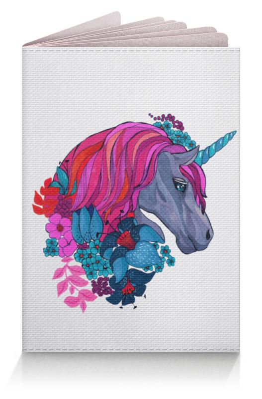 Обложка для паспорта Printio Единорог с розовыми волосами в цветах