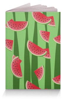 """Обложка для паспорта """"Арбуз"""" - полоска, красный, зеленый, арбуз, семена"""