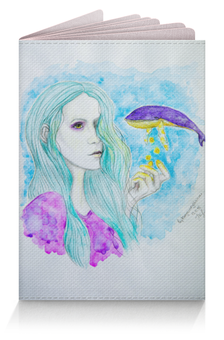"""Обложка для паспорта """"Ловец звезд"""" - девушка, звезды, фиолетовый, кит, мятный"""