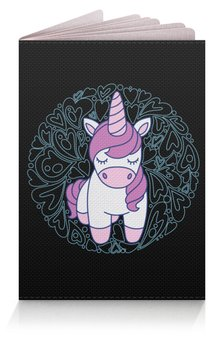 """Обложка для паспорта """"Unicorn"""" - сердце, узор, орнамент, розовый, единорог"""