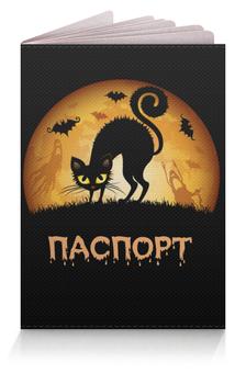 """Обложка для паспорта """"Черная кошка"""" - &аксессуары, &halloween, &хэллоуин, &черная кошка, &паспорт"""