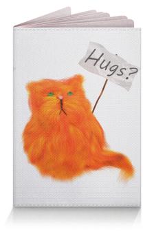 """Обложка для паспорта """"Hugs?"""" - кот, cat, рыжий, обнимашки, hugs"""