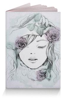 """Обложка для паспорта """"Красивая девушка с цветами"""" - арт"""