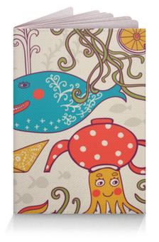 "Обложка для паспорта ""Морские обитатели"" - море, кит, рыбки, осьминог, морские обитатели"