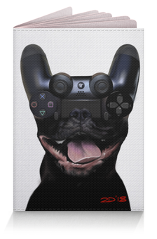 "Обложка для паспорта ""Let's play"" - game, dog, playstation, play, ps4"