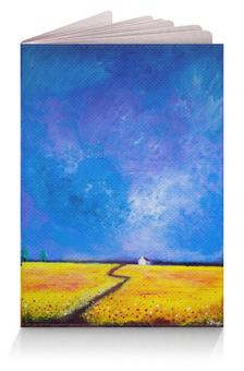 """Обложка для паспорта """"Маки перед дождем"""" - небо, цветы, желтый, синий, поле"""
