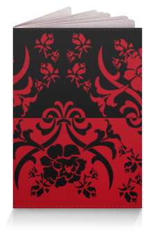 """Обложка для паспорта """"Красно-черный"""" - цветы, черный, красный, орнамент, половина"""