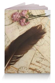 "Обложка для паспорта ""Винтаж"" - арт, цветы, винтаж, письмо, перья"