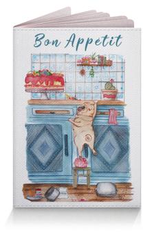 """Обложка для паспорта """"Мопс и торт """" - рисунок, собака, мопс"""