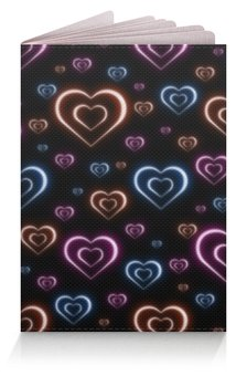 """Обложка для паспорта """"Неоновые сердца, с выбором цвета фона."""" - сердце, узор, сердца, сердечки, неон"""