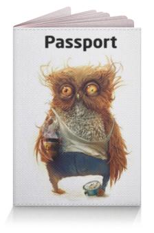 """Обложка для паспорта """"Пьяная Сова"""" - часы, сова"""
