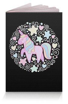 """Обложка для паспорта """"Unicorn"""" - розовый, единорог, орнамент, голубой, узор"""