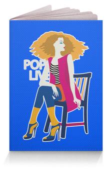 """Обложка для паспорта """"Поп арт дизайн. Красивая девушка в полосатой майке"""" - арт, силуэт, стильный, фешн, модный"""