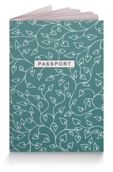 """Обложка для паспорта """"Узор с мелкими сердечками"""" - сердце, узор, ветки, паспорт, бирюза"""