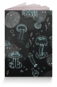 """Обложка для паспорта """"Медузы"""" - неон, медузы"""