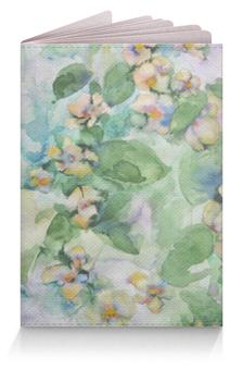 """Обложка для паспорта """"Жасмин"""" - цветок, голубой, оригинальный, акварель, нежный"""