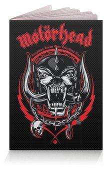 """Обложка для паспорта """"МУЗЫКА. MOTORHEAD"""" - череп, эмблема, волк, стиль надпись логотип яркость, арт фэнтези"""