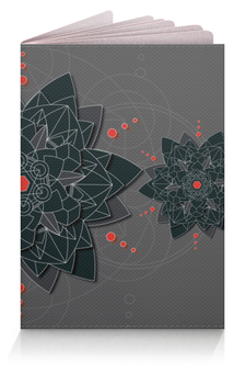 "Обложка для паспорта ""Обложка Black sacred geometry"" - абстракция, мандала, нирвана, визуализация, черный цветок"