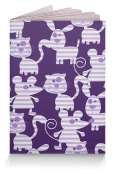 """Обложка для паспорта """"Коты, мыши и собаки"""" - кот, мышь, полоска, фиолетовый, собака"""