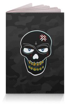 """Обложка для паспорта """" Black&Blue skull"""" - череп, надпись, глаза, крест, камуфляж"""