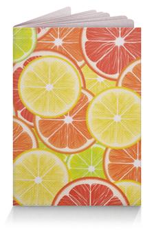 """Обложка для паспорта """"Цитрусы"""" - апельсин, лайм, лимон, грейпфрут, дольки"""