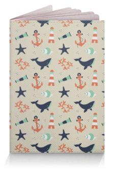 """Обложка для паспорта """"Акулы"""" - море, якорь, акула, морская звезда, обитатели моря"""