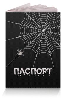 """Обложка для паспорта """"Паутинка"""" - &аксессуары, &черно-белое, &пауки, &паспорт, &паутина"""