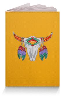 """Обложка для паспорта """"Этнический бык"""" - 23 февраля, желтый, этно, бык, bull"""