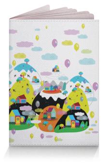 """Обложка для паспорта """"Облачный городок"""" - детский, облака, воздушные шары, цветной, женский"""