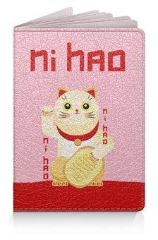"""Обложка для паспорта """"Манеки неко"""" - кот, деньги, китайский, талисман, фэншуй"""