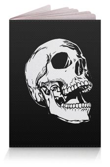 """Обложка для паспорта """"Бедный Йорик  """" - череп, кости, чернобелый"""