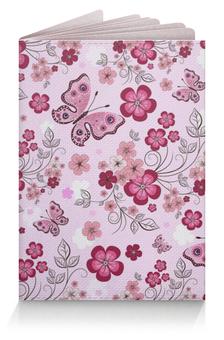 """Обложка для паспорта """"Бабочки"""" - бабочки, цветы, розовый фон"""