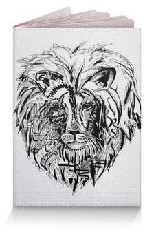 """Обложка для паспорта """"Иллюстрация Лев"""" - лев, черно белый"""