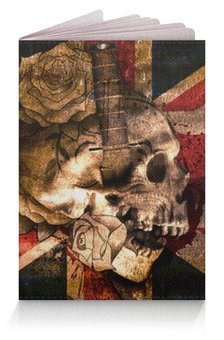 "Обложка для паспорта ""Череп конфедерата"" - череп, флаг, розы, united kingdom, флаг конфедерации"
