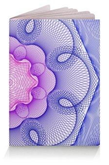 """Обложка для паспорта """"Цветок сине-розовый гильош"""" - узор, абстракция, геометрия, гильош"""