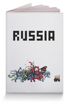"""Обложка для паспорта """"RUSSIA"""" - россия, russia, поросёнок пётр, всадники"""
