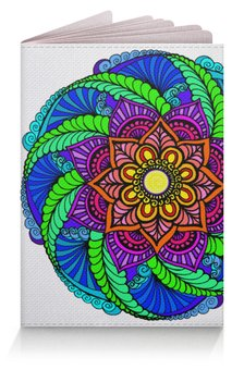 """Обложка для паспорта """"Яркий цветок в этническом стиле"""" - цветы, орнамент, этнический, индийский"""